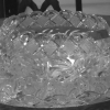 Antique patterned punch bowl with platter and glasses