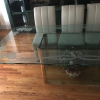 8 ft Etched Glass Dining Table w/ Chairs