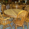 Solid Oak Round Dining Table with (6) Chairs