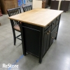 Kitchen Island with Storage and Two Barstools