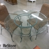 Glass Top Patio Table with Wicker Chairs