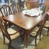 Brown Walnut Table w/ 7 Chairs