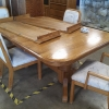 Oak Dining Table, 2 Leaves, 4 Chairs