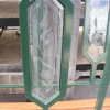 Metal Hand Rail w/Beveled & Etched Glass Accents 