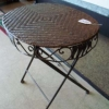 Rattan and Metal Folding Table