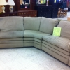 3pc Rounded Grey Sectional Sofa