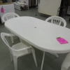White Plastic Patio Table with 4 Chairs