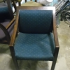 Wood Office Chairs with Green Fabric