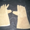Leather welding gloves.