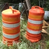 orange construction barrels