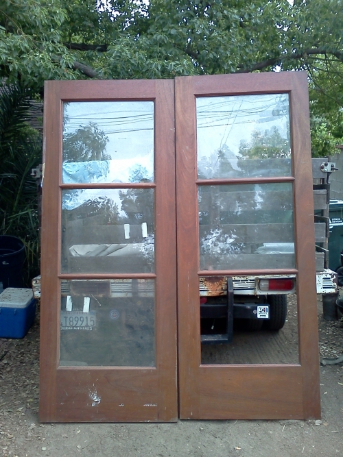 7 5 foot tall solid mahogany french doors in altadena ca for Five foot french doors